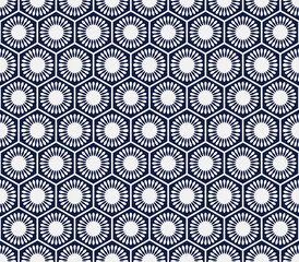 Seamless Blue Chinese Background polygon round flower geometry cell frame