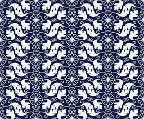 Seamless Blue Chinese Background oriental Japanese spiral vortex round flower leaf vine