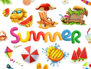 Summer holiday set. 3d vector icon