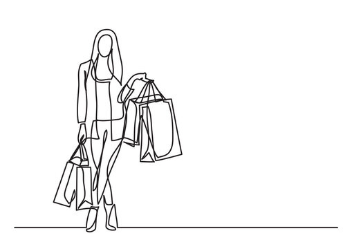 shopping woman with bags  - single line drawing