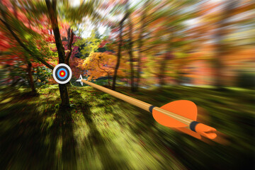 Arrow moving with precision and blurred motion toward an archery target, part photo, part 3D rendering