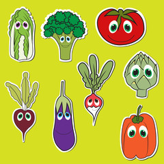 Set of Vegetables with eyes. Cute doodle vegetables in Flat Style Vector Isolated