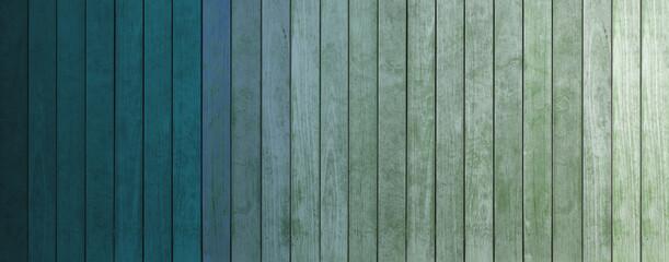 lamelles de bois coloré, dégradés de teintes, du bleu au vert