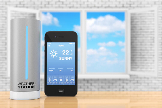 Modern Digital Wireless Home Weather Station with Mobile Phone with Weather on Screen. 3d Rendering