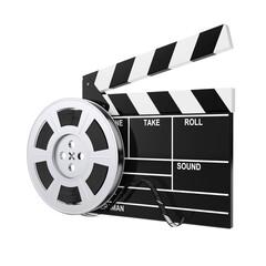 Film Reel with Cinema Tape near Clapboard. 3d Rendering