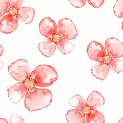 Floral seamless pattern. Watercolor background with red flowers 1