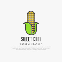 Thin line icon of corn for logo or warning ingredient. Vector illustration.