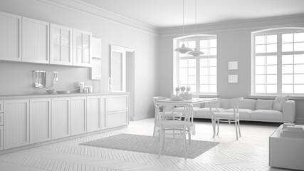 Total white scandinavian kitchen, minimalist interior design