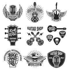 Set of guitar store emblems. Design elements for logo, label, emblem, sign, badge, poster. Vector illustration