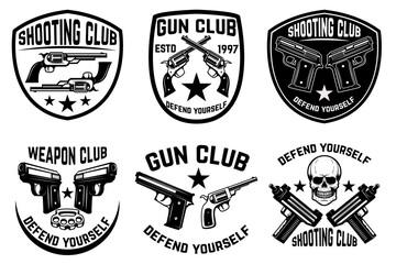 Set of weapon club, gun shop emblems. Labels with handguns. Vector illustration