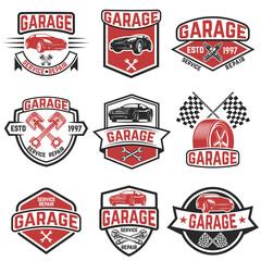 Set of vintage car service labels. Design elements for logo, label, emblem, sign, badge. Vector illustration