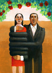 possessive love A man embraces a woman wrapping it completely with long arms