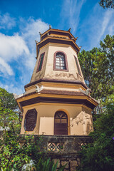 Vietnam, Dalat - May 9, 2017: Linh Son Pagoda in Da Lat, Vietnam. Dalat's landmark, buddhist temple