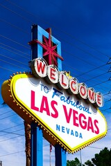 The Welcome to Fabulous Las Vegas sign on bright sunny day in Las Vegas