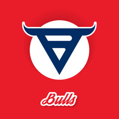 Bulls - sport vector logo concept on red background. Professional team icon or pictogram. Prints premium quality with wild animal to t-shirt.