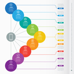 Vector dynamic infographics of technology or education process. Business presentation with nine options. Web Template of a info chart, mind map or diagram. Part of the report with simple elements.