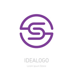 Letter S logotype. Vector symmetrical design element, logo or icon. Concept of connection.