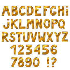 Beautiful golden font isolated on white background. Full alphabet. Letters and numbers. Vector illustration.