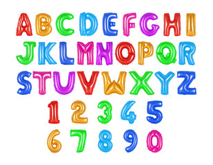 English alphabet and numerals colored (rainbow)
