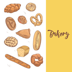 Fresh Bread. Hand Drawn Bakery Design with Loaf and Buns. Vector illustration