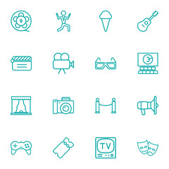 Set Of 16 Entertainment Outline Icons Set.Collection Of Movie Cam, 3D Glasses, Ticket And Other Elements.