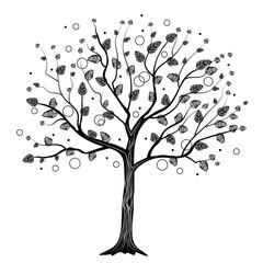 Black tree with circles