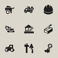 Set Of 9 Editable Building Icons. Includes Symbols Such As Caterpillar, Excavation Machine, Home Scheduling And More. Can Be Used For Web, Mobile, UI And Infographic Design.