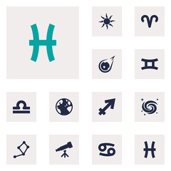 Set Of 12 Astronomy Icons Set.Collection Of Space, Archer, Earth Planet And Other Elements.
