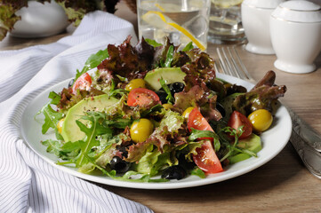 Summer Salad - With avocado, olives, tomatoes