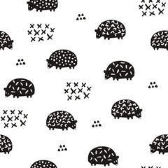 Vector seamless pattern with silhouettes of hedgehogs. Cute decorative background for the design