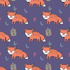 Vector seamless pattern with foxes. Decorative background for design of a children's room and clothes
