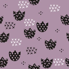 Stylized children's pattern with flowers. Vector seamless background for design and decoration of children's clothes