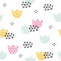 Stylized children's pattern with flowers. Vector seamless background for design and decoration
