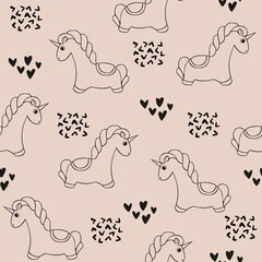 Unicorn. Vector seamless pattern with unicorns. Cute decorative background for design and decoration