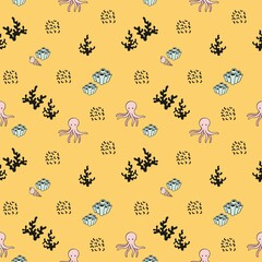 Vector seamless sea pattern. Decorative background with an octopus and corals on a yellow background