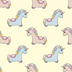 Unicorn. Vector seamless pattern with unicorns. Colorful cute design for the design and design of children's textiles