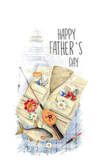 Creative postcard for Happy Father's Day. Can use as a greeting card, poster, flyer