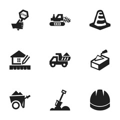 Set Of 9 Editable Structure Icons. Includes Symbols Such As Camion, Spatula, Notice Object And More. Can Be Used For Web, Mobile, UI And Infographic Design.