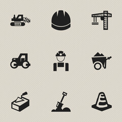 Set Of 9 Editable Structure Icons. Includes Symbols Such As Notice Object, Lifting Equipment, Hardhat And More. Can Be Used For Web, Mobile, UI And Infographic Design.