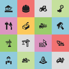Set Of 16 Editable Building Icons. Includes Symbols Such As Mule, Lifting Equipment, Truck And More. Can Be Used For Web, Mobile, UI And Infographic Design.