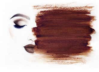 Deurstickers Aquarel Gezicht Make up. Woman face and place for text. Fashion illustration. Watercolor painting