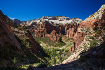 View to Angels Landing in Zion National park, Utah, USA