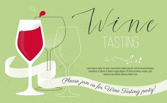 Cute wine tasting invitation card. Vector illustration