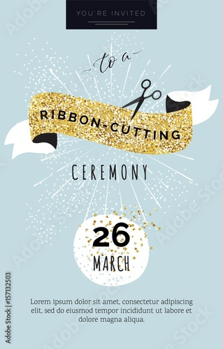 Cute invitation card you are invited to a ribbon cutting ceremony cute invitation card you are invited to a ribbon cutting ceremony vector illustration stopboris Image collections