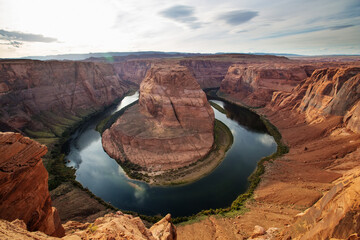 A view to Horseshoe bend landmark near Page city in Arizona, USA