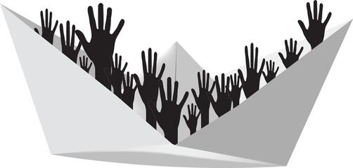 mani di persone su imbarcazione di carta simbolo immigrazione