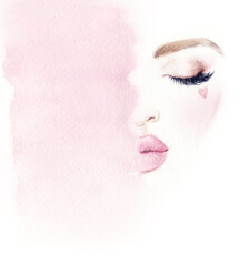 Garden Poster Watercolor Face Make up. Woman face and place for text. Fashion illustration. Watercolor painting