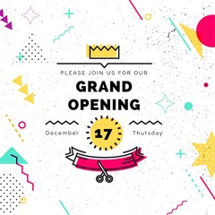 Grand opening banner. Vector background in retro 80s, 90s memphis style. Scissors cutting red ribbon