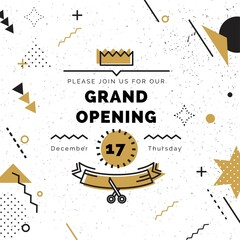 Grand opening banner in black and gold colors. Vector background in retro 80s, 90s memphis style. Scissors cutting gold ribbon