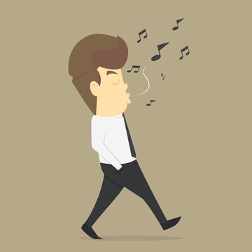 Businessman relax by listening to whistling music